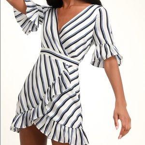 BB Dakota Ivory Striped Ruffle Dress